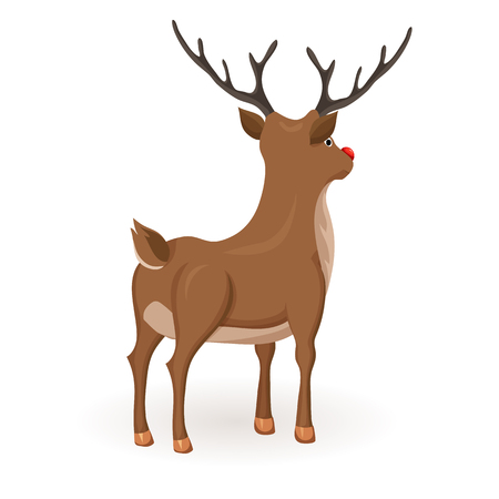 red nose: Reindeer Christmas vector illustration. Stand deer with red nose. Cartoon reindeer hold back and profile. Xmas holiday icons Illustration