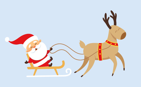 Santa Claus Christmas set. Santa Claus rides in a sleigh pulled by reindeer. Christmas character design. Santa Clause travel. Funny Father Frost