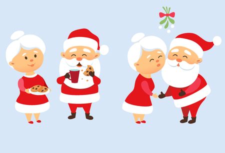 Santa Claus family Christmas set. Santa Claus kiss his wife Mrs. Santa Claus under mistletoe. Romantic Christmas tradition. Father Frost eating a cookie and drinking milk. Christmas character design
