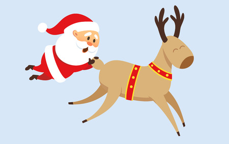 Santa Claus Christmas illustration. Santa Claus rides a reindeer, fell from reindeer and holding on to his tail. Christmas character design. Santa Clause travel. Funny Father Frost Illustration