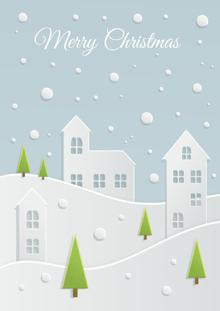 winter scene: Paper Christmas landscape. Winter night holidays vector Illustration with snowy city. Cutting houses, hills and trees. New year scene