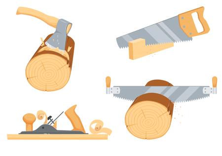 leñador: Carpintería, leñador, instrumentos de leñador Vectores