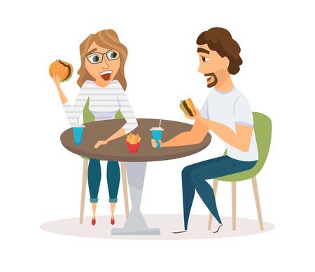 pareja comiendo: pareja feliz comiendo Vectores