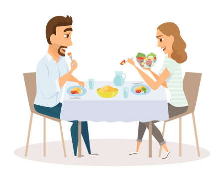 pareja comiendo: Loving couple eating Vectores