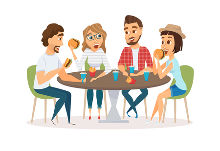 Friends eating fast food