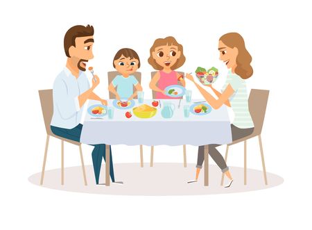 Family eating meal Vectores