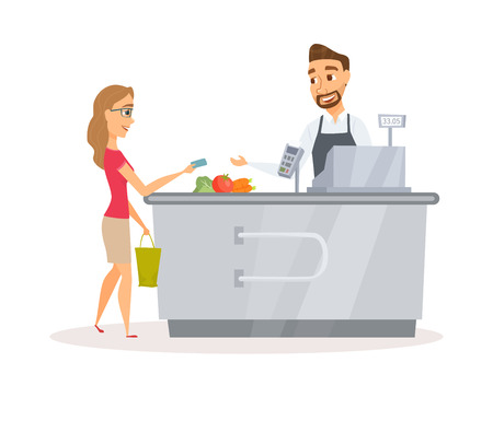 Cashier and buyer Illustration