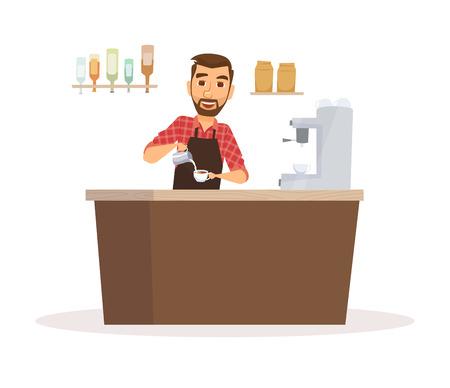 Barista in apron Stock Illustratie