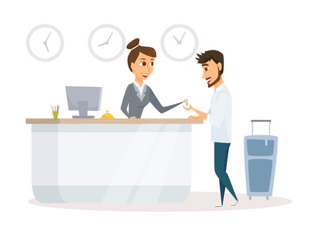 Receptionist and guest Stock Illustratie