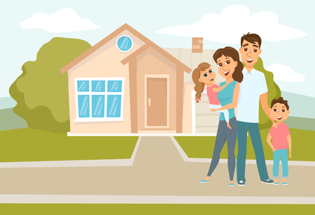 Family standing outside new home Illustration
