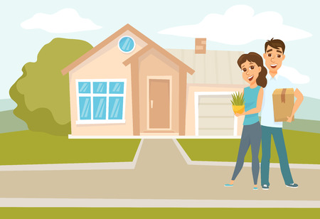 Couple standing outside new home Stock Illustratie