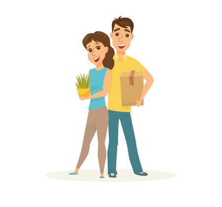 Couple in new home Illustration