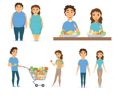 Infografía de alimentos saludables. Pareja concepto de estilo de vida. Nutrición, dieta o comida chatarra. Sonrisa del hombre y las mujeres de compras. Personas gordas delgadas y con sobrepeso Vectores