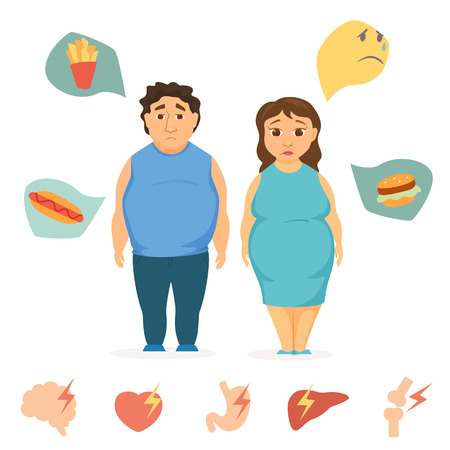 Man and women obesity infographics. Fat people concept. Unhealthy food and human organ chart. Sad overweight couple diet. Heart attack, brain, liver, bone, stomach, burger vector icon