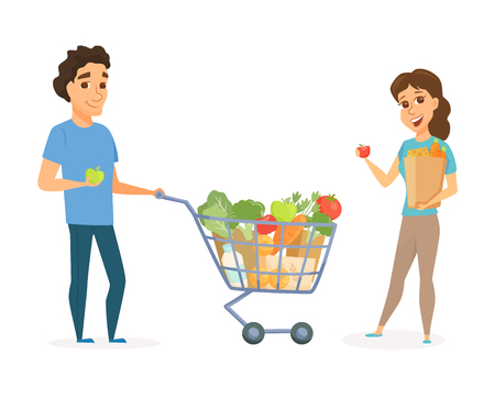 Couple with shopping cart and bag with healthy food. Man and women buying products together. People in grocery store, supermarket or retail shop. Stock Illustratie