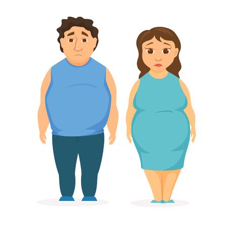 pareja comiendo: Man and women obesity. Fat people concept. Sad overweight couple diet.
