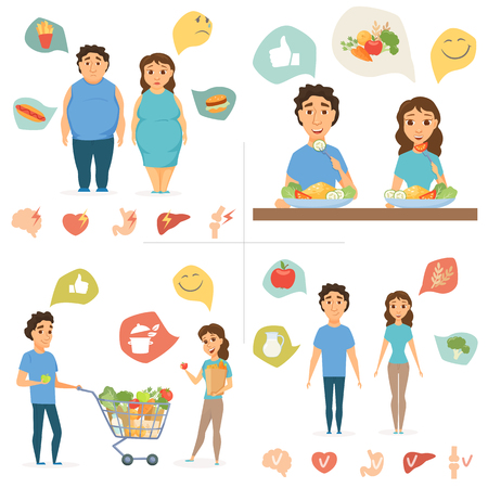 Healthy food infographics. Couple lifestyle concept. Nutrition, diet and junk eating, human organ chart. Smile man and women shopping. Slim and overweight fat people Illustration