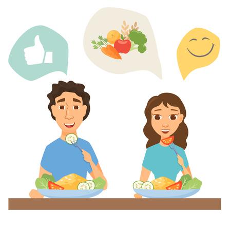 pareja comiendo: Pareja comiendo alimentos saludables. Hombre y mujer almorzar, cenar o desayunar. Nutrición e infografía de la dieta. Gente delgada en el hogar o restaurante
