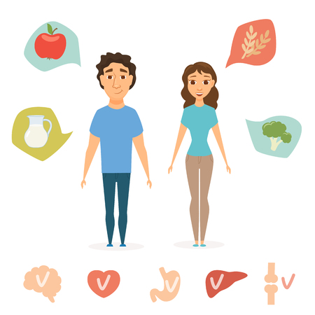 Man and women healthy food infographics. Slim people concept. and human organ chart. Smile couple diet. Heart, brain, liver, bone, stomach vector icon.