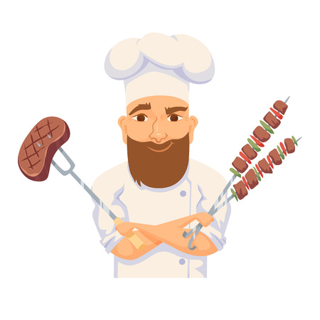 Chef cooking BBQ Stock Illustratie