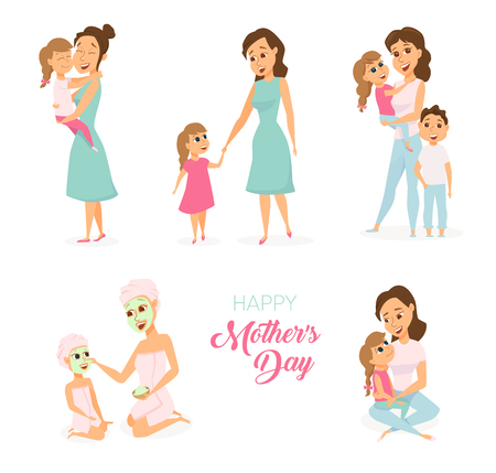 mom and daughter: Mothers day card. Illustration