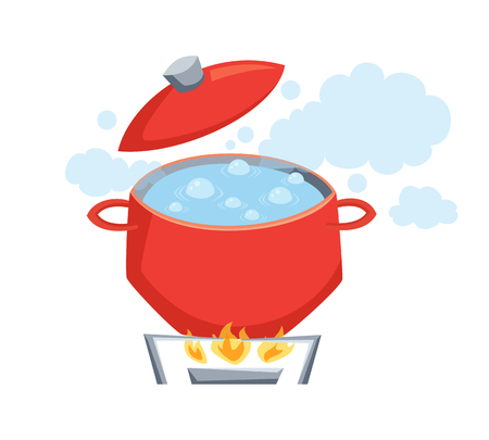 Pot with boil water on stove. Cooking process vector illustration. Kitchenware and utensils isolated on white. Tasty food Ilustração