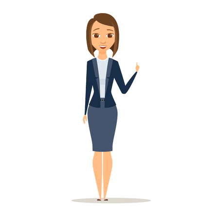 Business woman with raised index finger and hand up. A girl is standing and smile. Cartoon manager or boss has an idea Illustration