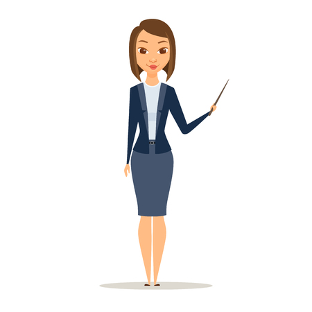 business pitch: Business women or teacher holding a pointer in his hand and showing. A girl is standing and smile. Cartoon manager at the presentation, seminar, lecture. Education concept