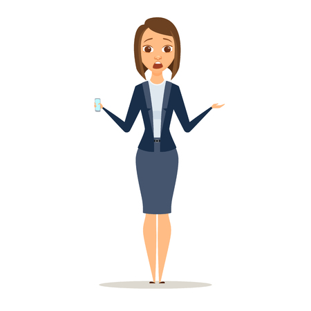 woman cellphone: Surprised business woman shows phone. Afraid girl dressed in suit holding a digital device. Cartoon shocked manager or boss with smartphone isolated on white