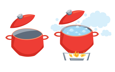 Pot with boil water  イラスト・ベクター素材
