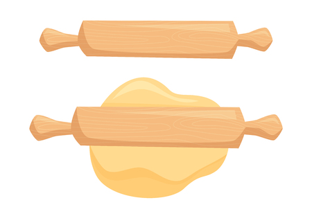 Dough and rolling pin Illustration
