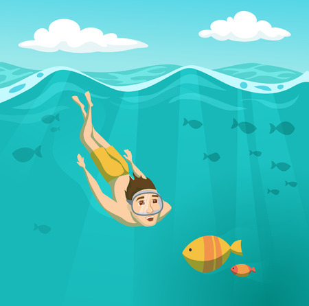 Man swims underwater Illustration