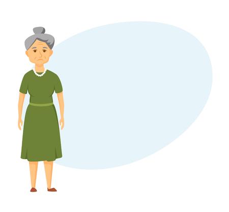 Sad old woman Illustration