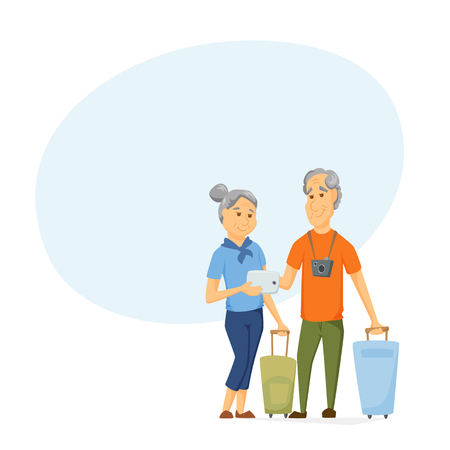 using tablet: Seniors travel with suitcase Stock Photo