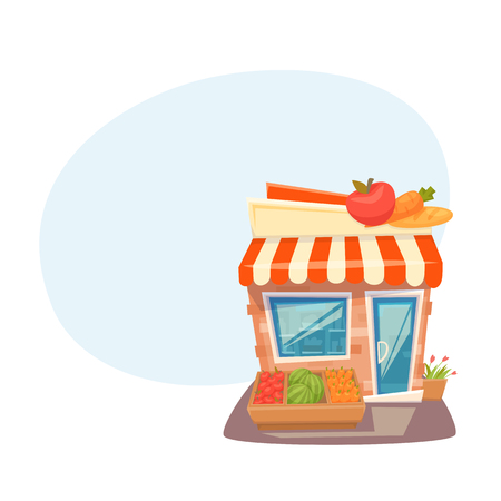 Grocery store front Illustration