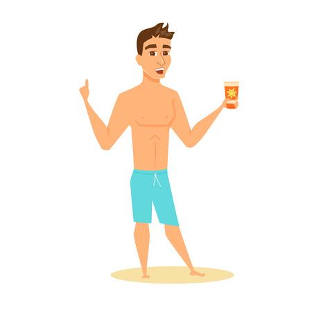 sun lotion: Men shows sunscreen