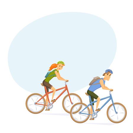 cycling helmet: Cyclist on mountain bike Illustration