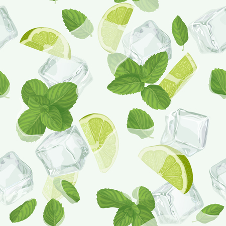 Mojito cocktail seamless pattern Ilustrace