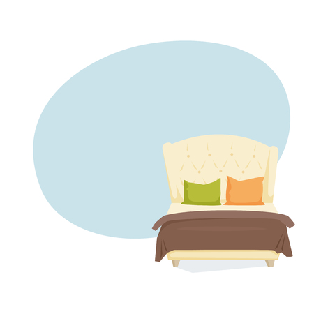 duvet: Double bed and pillow with blanket in modern style cartoon vector illustration. Bedroom furniture. Leather duvet background Illustration