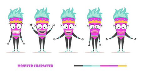hand stand: Monster character set