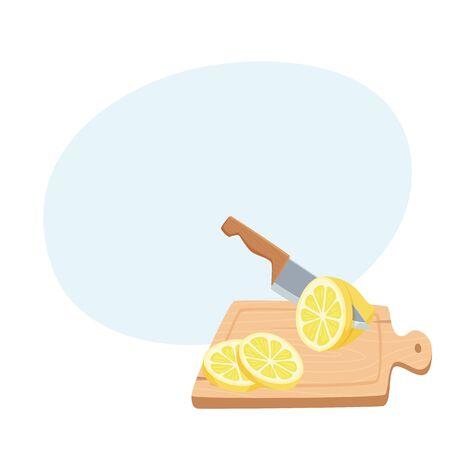 Cut lemon with a knife Stock Photo