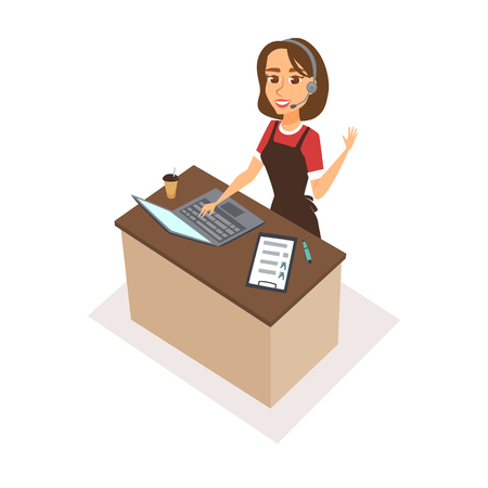 woman laptop: Woman character receptionist