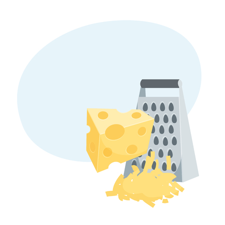 Grated cheese cooking process illustration.