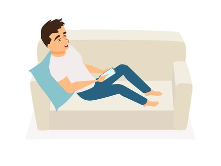 Man using mobile phone Иллюстрация