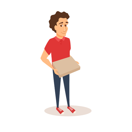 Courier holds pizza box. Illustration