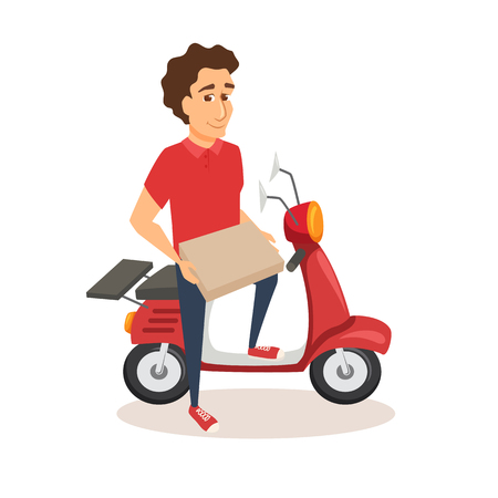 Courier with scooter and pizza.