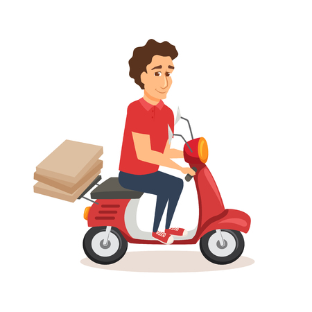 Courier drives scooter with pizza. Çizim