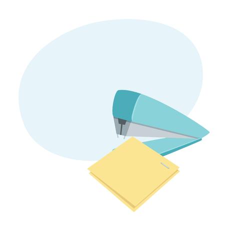 Stapler staples sheets vector illustration.