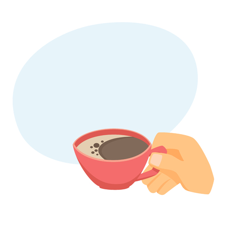 Hand with cup of coffee or tea. Process of drinkingl cartoon vector. Time for relaxation. Breakfast or break time at work
