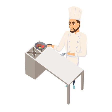 Chef fry meat steak. Restaurant cooking. Cook in uniform preparing food in hotel. Illustration